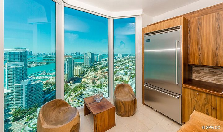 Gorgeous Views from Kitchen in Residence 3806 at Portofino Tower, Luxury Waterfront Condominiums in Miami Beach, Florida 33139