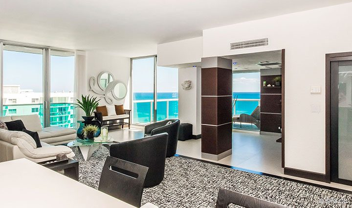 View from Kitchen inside Penthouse 10 at Sian Ocean Residences, Luxury Oceanfront Condominiums Hollywood Beach, Florida 33019