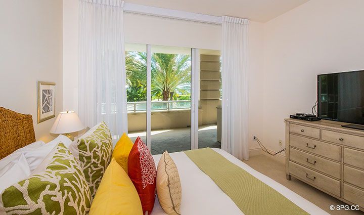 Guest Room Terrace Access in Residence 204 at Bellaria, Luxury Oceanfront Condominiums in Palm Beach, Florida 33480.