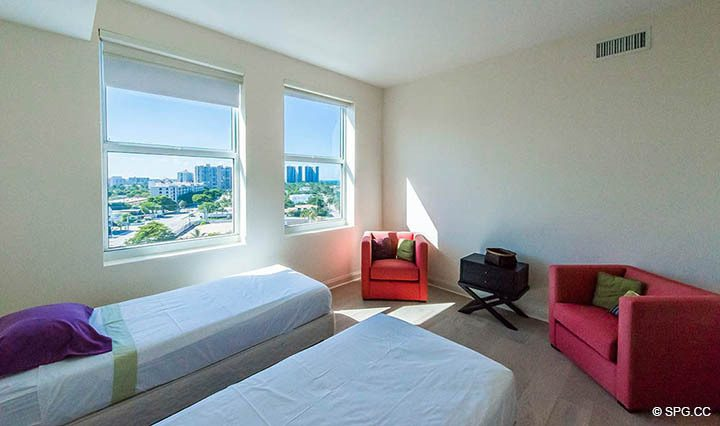 Guest Bed with City View in Residence 10D, Tower II at The Palms, Luxury Oceanfront Condominiums Fort Lauderdale, Florida 33305