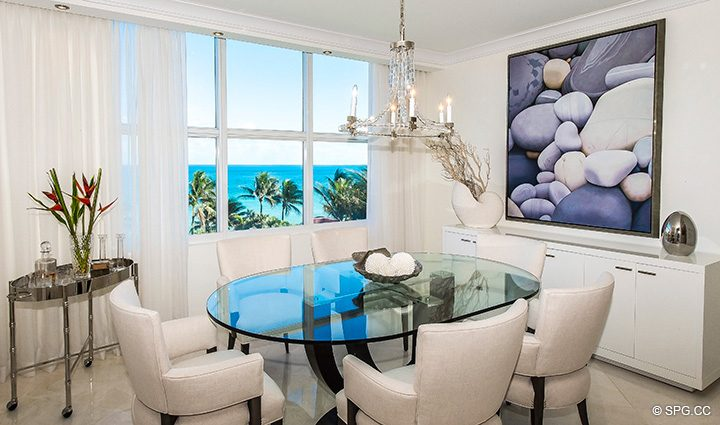 Dining Room inside Residence 5D, Tower I at The Palms, Luxury Oceanfront Condominiums Fort Lauderdale, Florida 33305