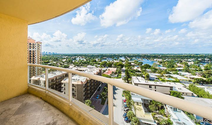 Intracoastal Terrace Views from Residence 12A, Tower I at The Palms, Luxury Oceanfront Condominiums Fort Lauderdale, Florida 33305