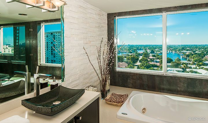 Master Bath Views in Residence 11B, Tower I at The Palms, Luxury Oceanfront Condominiums Fort Lauderdale, Florida 33305