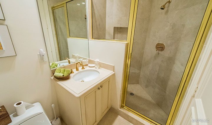Guest Bathroom in Residence 204 at Bellaria, Luxury Oceanfront Condominiums in Palm Beach, Florida 33480.