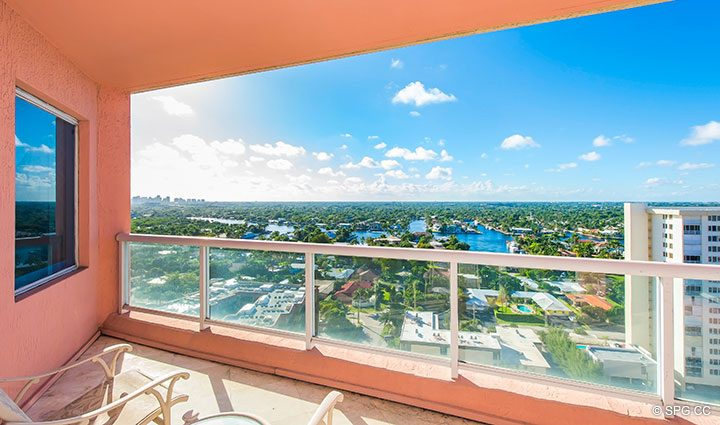 Intracoastal Terrace View from Residence 18B, Tower I at The Palms, Luxury Oceanfront Condominiums Fort Lauderdale, Florida 33305