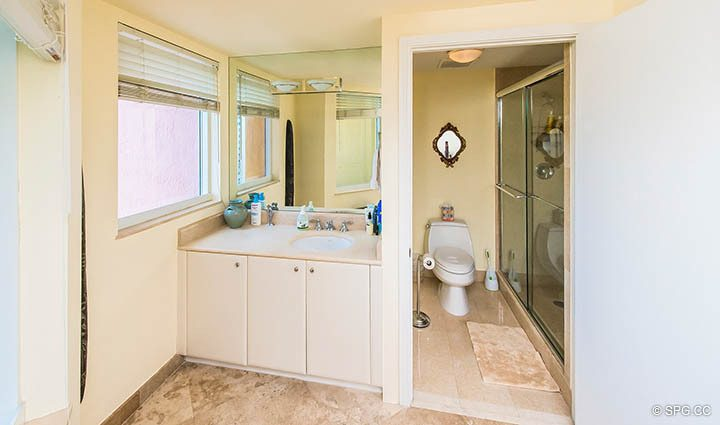 Guest Bathroom in Residence 12A, Tower I at The Palms, Luxury Oceanfront Condominiums Fort Lauderdale, Florida 33305