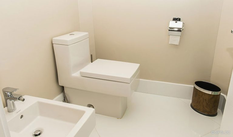 Master Water Closet in Residence 18D at Cristelle, Luxury Oceanfront Condominiums in Lauderdale by the Sea, Florida 33062.