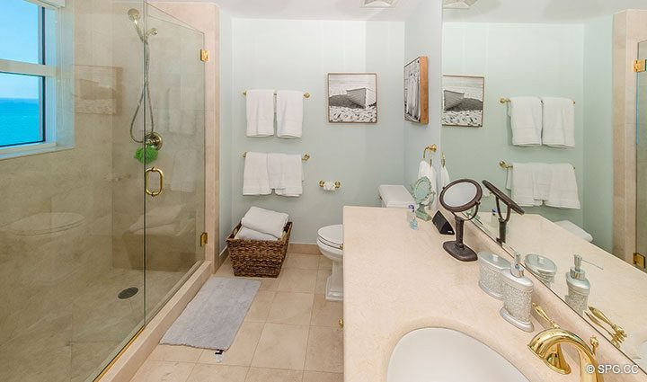 Guest Bathroom in Residence 17B, Tower II at The Palms, Luxury Oceanfront Condos in Fort Lauderdale, Florida 33305.