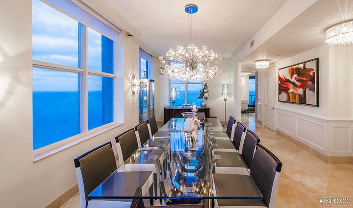 Dining Room in Penthouse Residence 26A, Tower I at The Palms, Luxury Oceanfront Condos in Fort Lauderdale, Florida 33305.