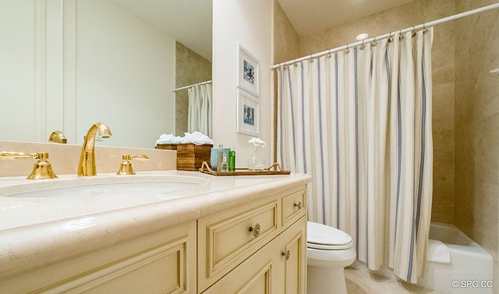 Guest Bath inside Residence 204 at Bellaria, Luxury Oceanfront Condominiums in Palm Beach, Florida 33480.