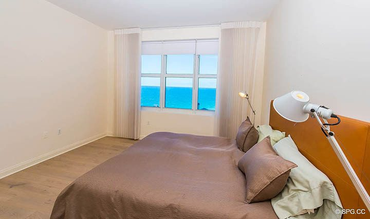Bedroom with Ocean Views in Residence 10D, Tower II at The Palms, Luxury Oceanfront Condominiums Fort Lauderdale, Florida 33305