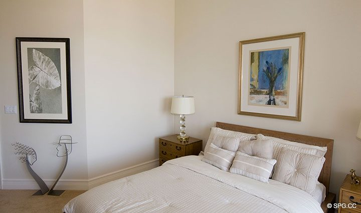 Guest Bedroom inside Residence 304 at Bellaria, Luxury Oceanfront Condominiums in Palm Beach, Florida 33480.