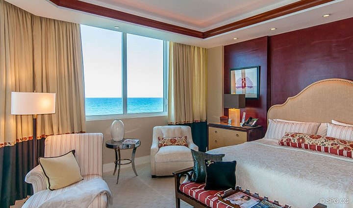Oceanside Master Bedroom in Residence 406 at Bellaria, Luxury Oceanfront Condominiums in Palm Beach, Florida 33480.