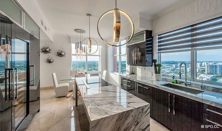 Gourmet Kitchen inside Penthouse Residence 26A, Tower I at The Palms, Luxury Oceanfront Condos in Fort Lauderdale, Florida 33305.