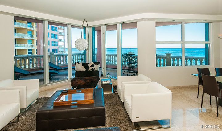 Living Room inside Residence 11B, Tower I at The Palms, Luxury Oceanfront Condominiums Fort Lauderdale, Florida 33305