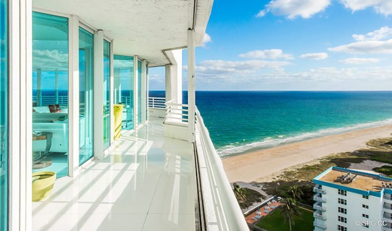 Expansive Balcony at Residence 18D at Cristelle, Luxury Oceanfront Condominiums in Lauderdale by the Sea, Florida 33062.