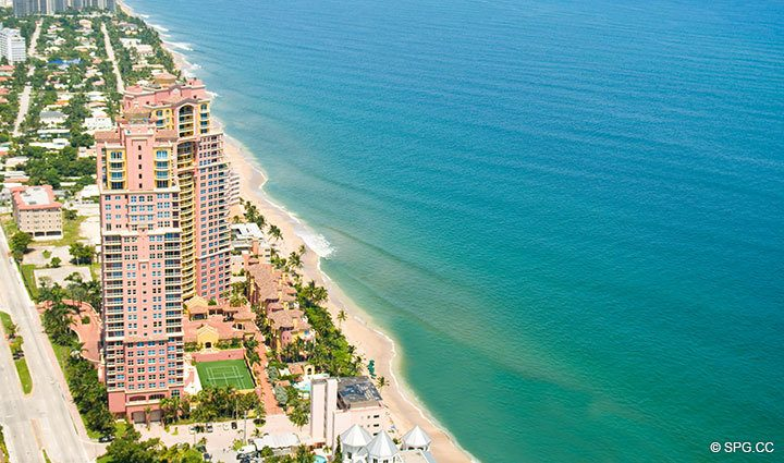 Aerial View of The Palms, Residence 5D, Tower II at The Palms, Luxury Oceanfront Condominiums Fort Lauderdale, Florida 33305