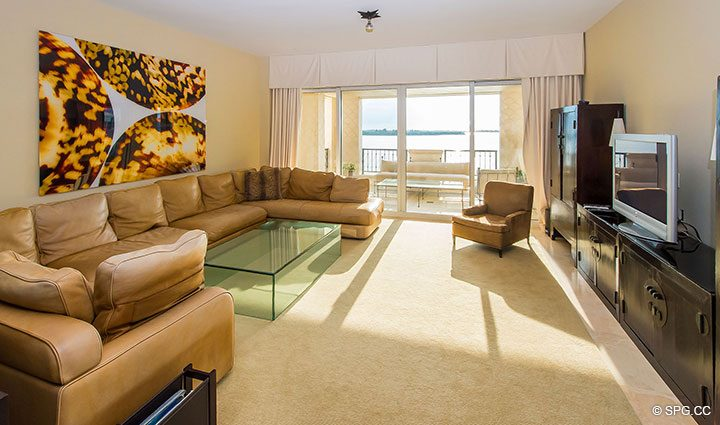 Living Room in Luxury Oceanfront Condo Residence 5152 Fisher Island Drive, Miami Beach, FL 33109