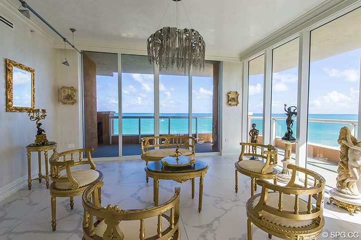 Living Room inside Residence 1106 at Acqualina, Luxury Oceanfront Condominiums in Sunny Isles Beach, Florida 33160