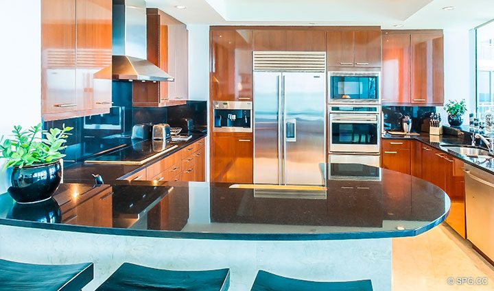 Open Kitchen inside Residence 902 For Rent at One Bal Harbour, Luxury Oceanfront Condos in Bal Harbour, Miami, Florida 33154.