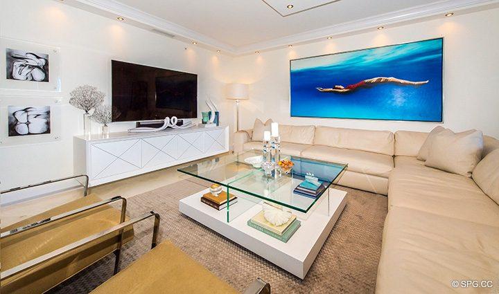 Living Room in Residence 5D, Tower I at The Palms, Luxury Oceanfront Condominiums Fort Lauderdale, Florida 33305