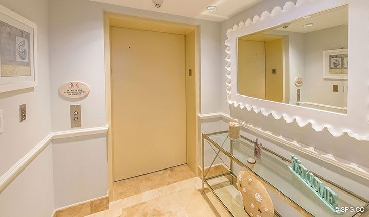 Private Elevator Landing for Residence 17B, Tower II at The Palms, Luxury Oceanfront Condos in Fort Lauderdale, Florida 33305.