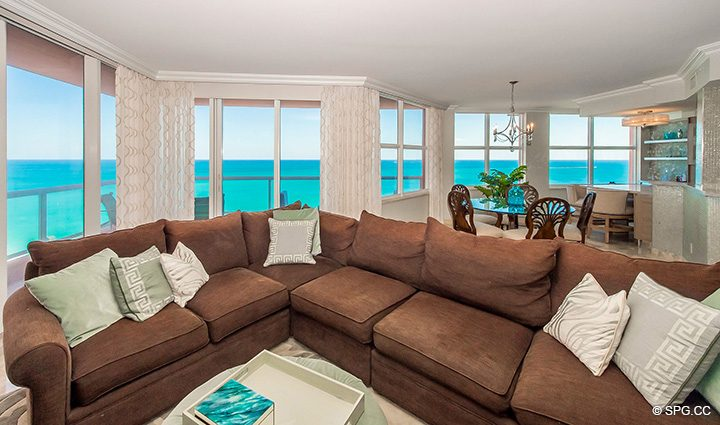 Living Room inside Residence 12B, Tower I at The Palms, Luxury Oceanfront Condominiums Fort Lauderdale, Florida 33305