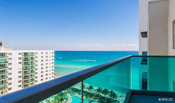 Terrace Ocean Views from Penthouse 10 at Sian Ocean Residences, Luxury Oceanfront Condominiums Hollywood Beach, Florida 33019