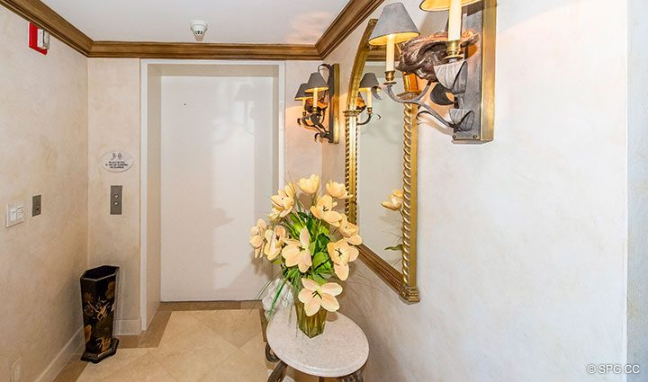 Private Elevator Landing and Foyer for Residence 18B, Tower I at The Palms, Luxury Oceanfront Condominiums Fort Lauderdale, Florida 33305