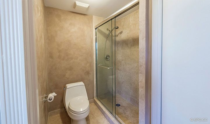 Guest Bathroom in Residence 6A, Tower II For Sale at The Palms, Luxury Oceanfront Condominiums Fort Lauderdale, Florida 33305