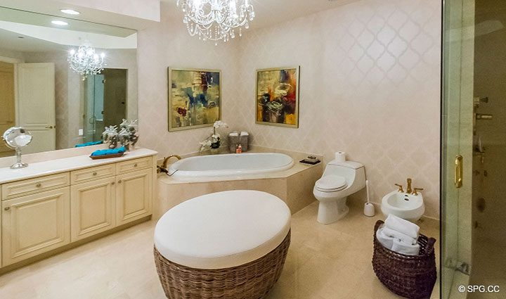 Master Bathroom inside Residence 204 at Bellaria, Luxury Oceanfront Condominiums in Palm Beach, Florida 33480.