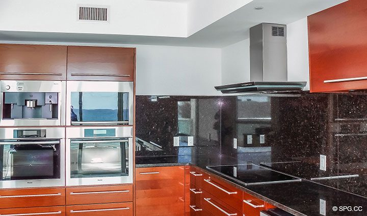 Kitchen inside Residence 803 at Las Olas Beach Club, Luxury Oceanfront Condos in Fort Lauderdale, Florida 33316.