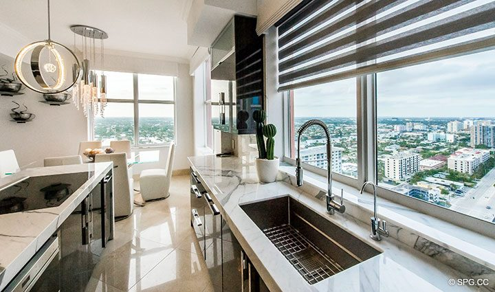 Kitchen with Intracoastal Views in Penthouse Residence 26A, Tower I at The Palms, Luxury Oceanfront Condos in Fort Lauderdale, Florida 33305.