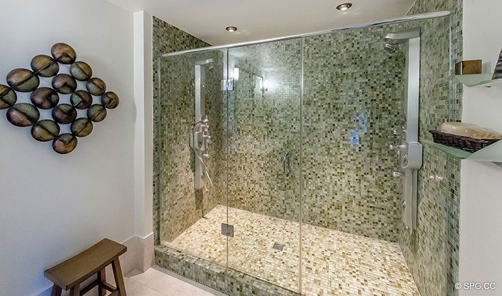 Large Master Shower in Penthouse 10 at Sian Ocean Residences, Luxury Oceanfront Condominiums Hollywood Beach, Florida 33019