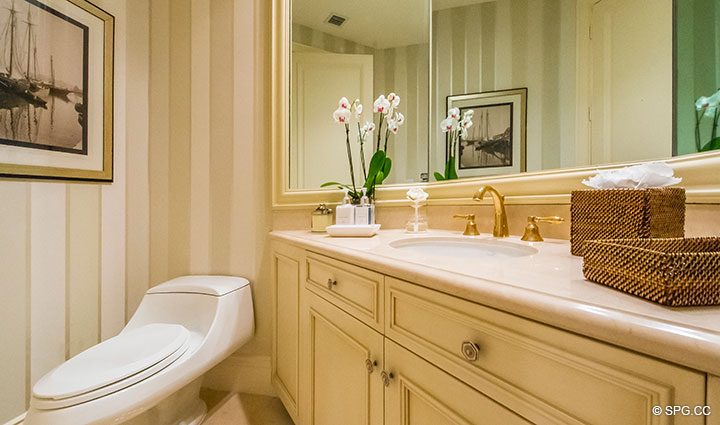 Powder Room inside Residence 204 at Bellaria, Luxury Oceanfront Condominiums in Palm Beach, Florida 33480.