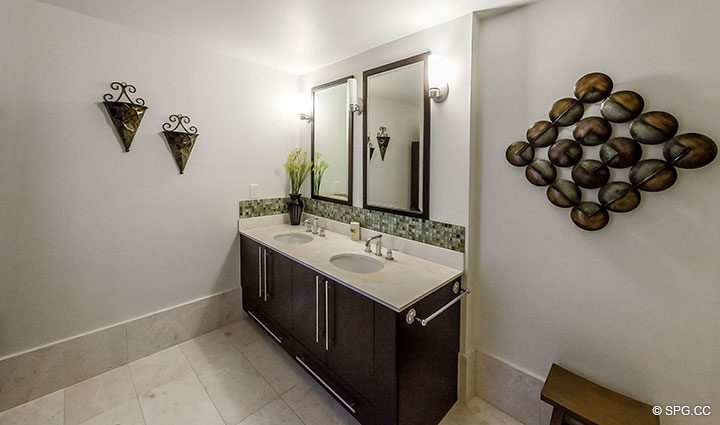 Master Bath with Two Vanities in Penthouse 10 at Sian Ocean Residences, Luxury Oceanfront Condominiums Hollywood Beach, Florida 33019
