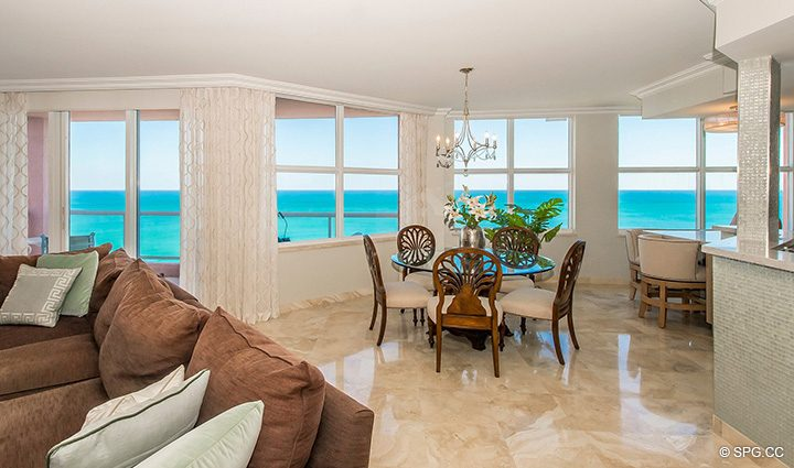 Living and Dining Area in Residence 12B, Tower I at The Palms, Luxury Oceanfront Condominiums Fort Lauderdale, Florida 33305