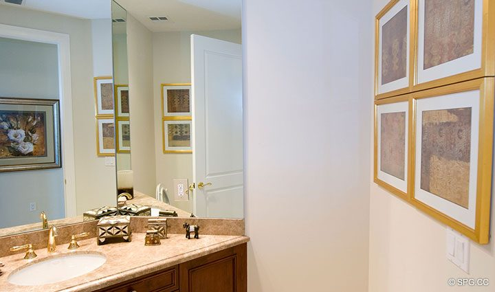 Guest Bathroom in Residence 304 at Bellaria, Luxury Oceanfront Condominiums in Palm Beach, Florida 33480.