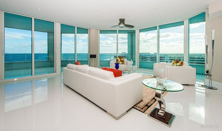 Floor to Ceiling Glass in Residence 18D at Cristelle, Luxury Oceanfront Condominiums in Lauderdale by the Sea, Florida 33062.