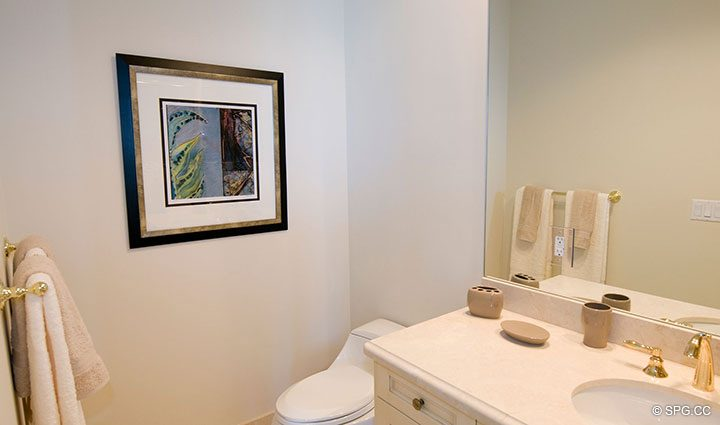 Guest Bath inside Residence 304 at Bellaria, Luxury Oceanfront Condominiums in Palm Beach, Florida 33480.