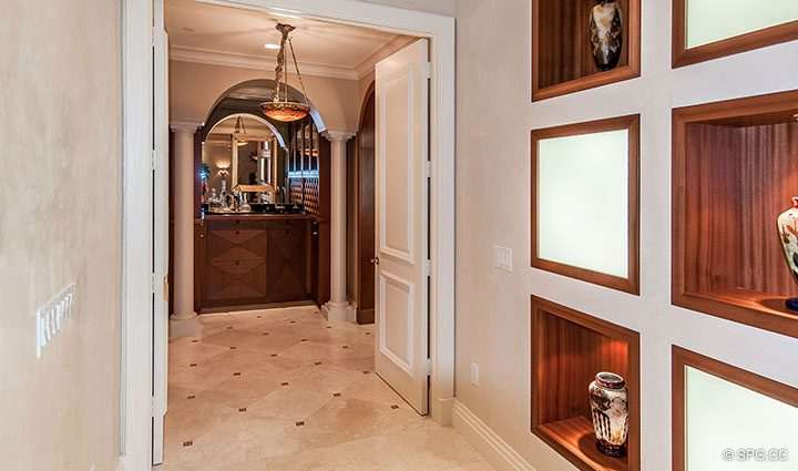 Hallway inside Residence 406 at Bellaria, Luxury Oceanfront Condominiums in Palm Beach, Florida 33480.