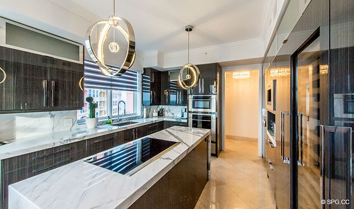 Kitchen with Wolf and Sub-Zero Appliances in Penthouse Residence 26A, Tower I at The Palms, Luxury Oceanfront Condos in Fort Lauderdale, Florida 33305.