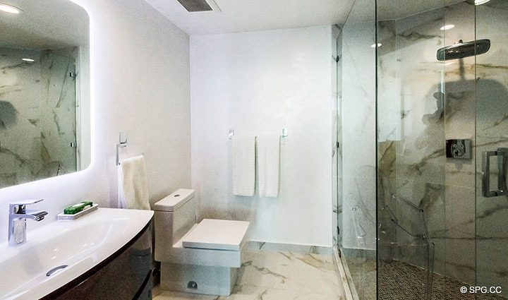 Guest Bath inside Residence 3806 at Portofino Tower, Luxury Waterfront Condominiums in Miami Beach, Florida 33139