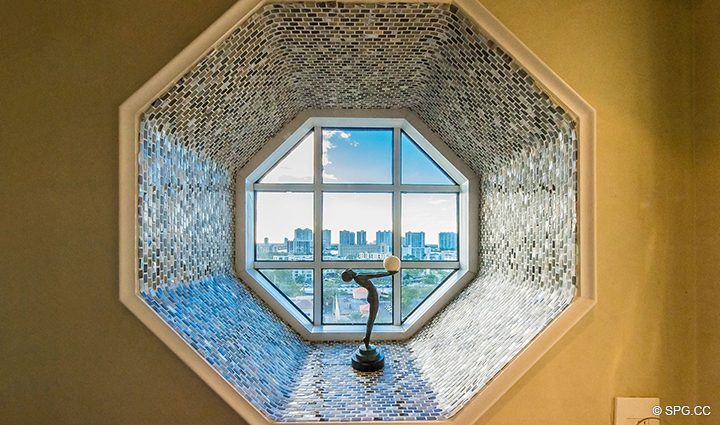 Guest Bath Window in Residence 1106 at Acqualina, Luxury Oceanfront Condominiums in Sunny Isles Beach, Florida 33160