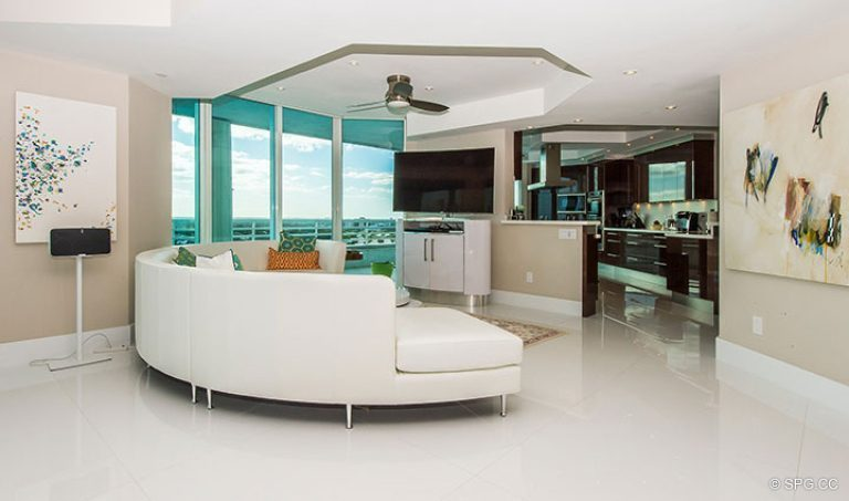 Living Room inside Residence 18D at Cristelle, Luxury Oceanfront Condominiums in Lauderdale by the Sea, Florida 33062.