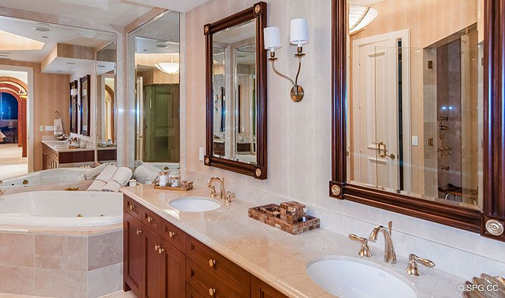 Master Bath inside Residence 406 at Bellaria, Luxury Oceanfront Condominiums in Palm Beach, Florida 33480.