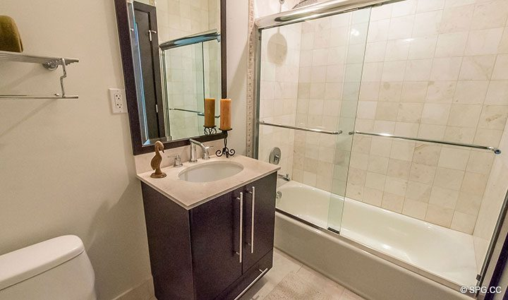 Guest Bathroom in Penthouse 10 at Sian Ocean Residences, Luxury Oceanfront Condominiums Hollywood Beach, Florida 33019