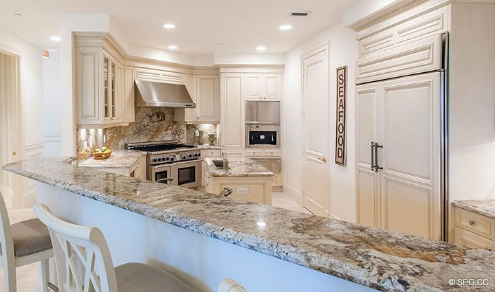 Kitchen Bar in Residence 204 at Bellaria, Luxury Oceanfront Condominiums in Palm Beach, Florida 33480.