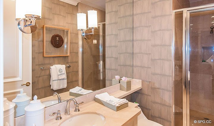 Guest Bath inside Residence 406 at Bellaria, Luxury Oceanfront Condominiums in Palm Beach, Florida 33480.
