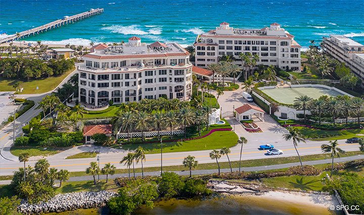 West Side Aerial View of Residence 304 at Bellaria, Luxury Oceanfront Condominiums in Palm Beach, Florida 33480.